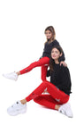Leggings bundle donna e bambina in lycra rossi con stelle applicate argento e rossa laminata