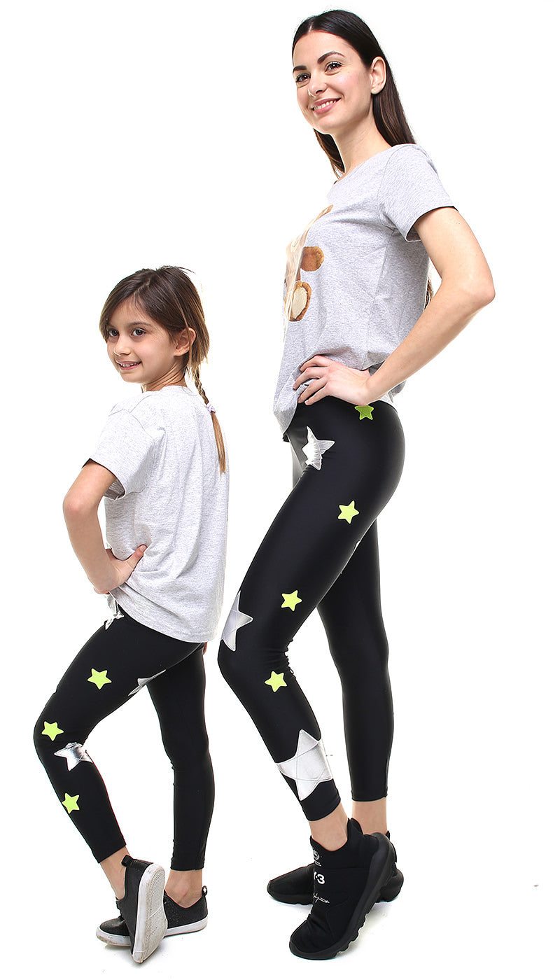 Leggings Bundle Donna e Bambina in lycra neri con stelle applicate argento e giallo fluo