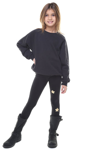 Leggings bambina in lycra neri con stelle applicate nere e oro