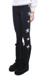 Leggings in lycra felpata neri con stelle applicate argento