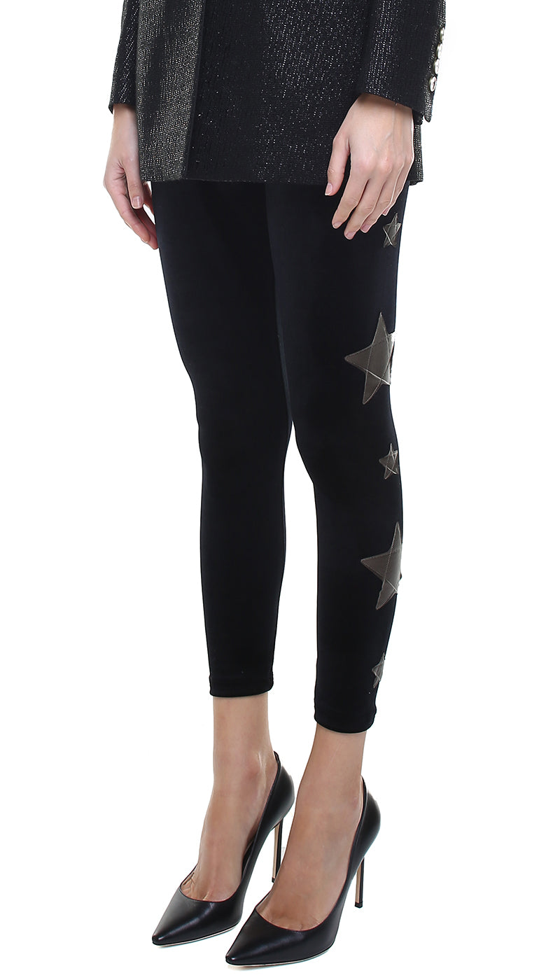 Leggings in velluto nero con stelle applicate in ecopelle bronzo