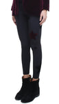 Leggings in lycra felpata neri con stelle applicate di velluto bordeaux e nere