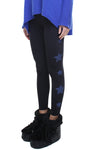 Leggings lycra felpata neri con stelle applicate di ecopelle blu
