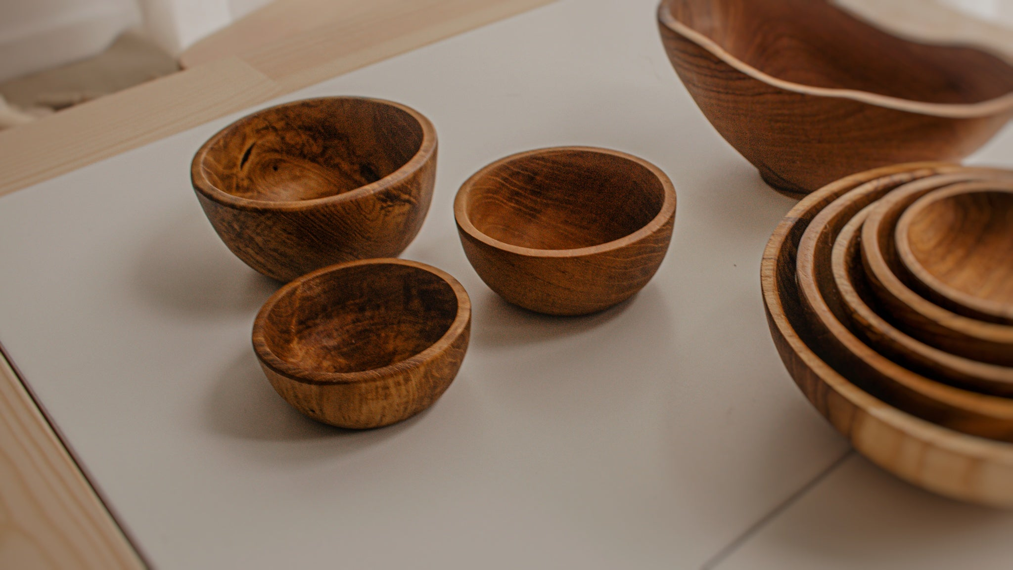 Mini Timber Stacking Bowls (3)