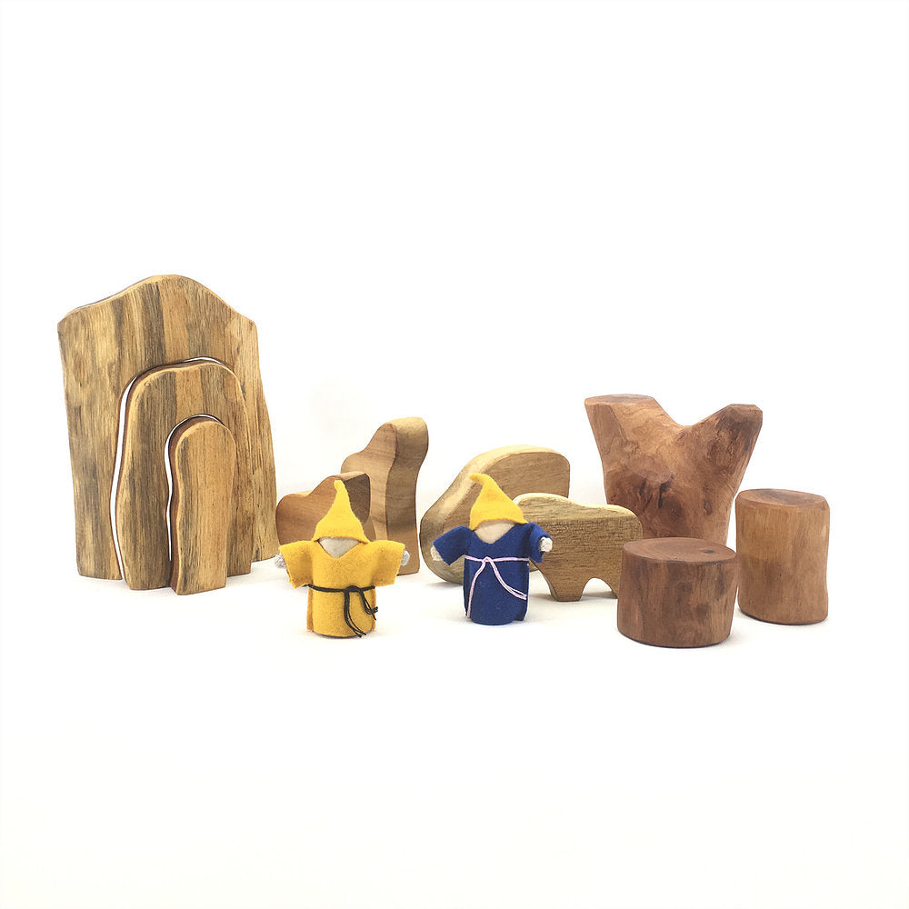 Wooden Animal & Cave Set