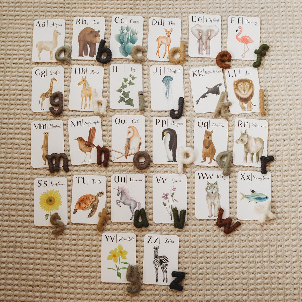 Natural Felt Alphabet (Lowercase)