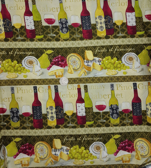 Wine and Cheese border print