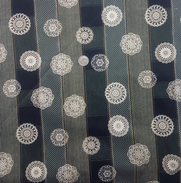 Denim, black spirograph