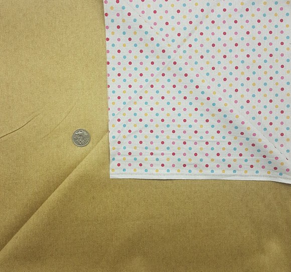 Denim, double sided, beige with multi spot