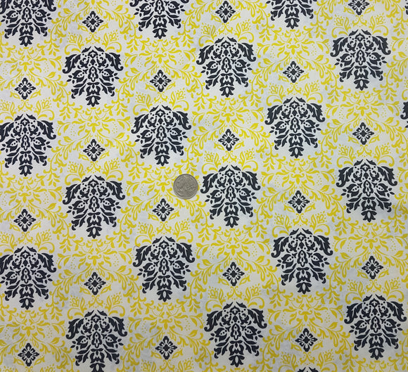 Yellow and black on white wallpaper