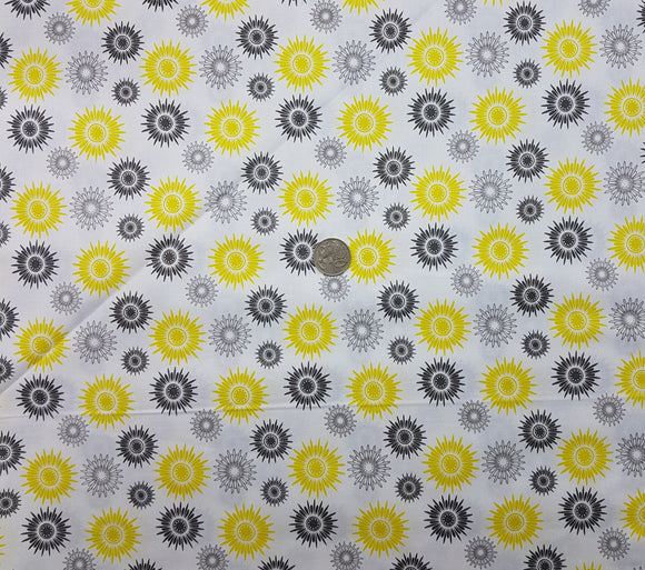 Spirograph, yellow and grey on white