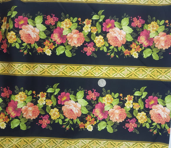 Apricot and Gold large floral on black border print