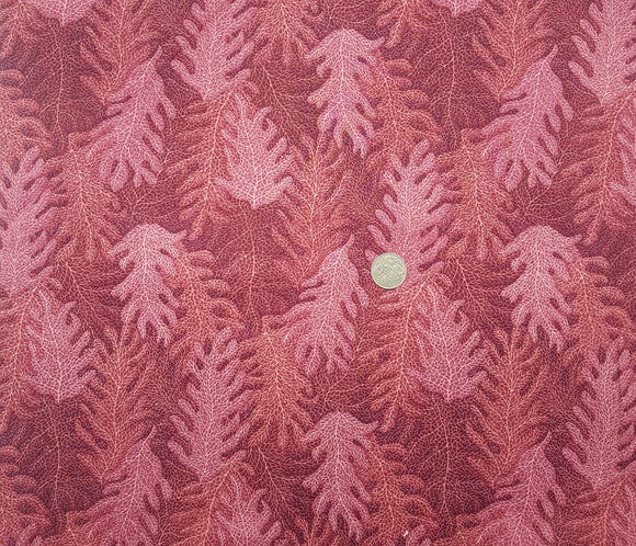 Fern leaf pink red tonal