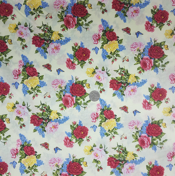 Rose and butterfly, pink yellow red blue on cream