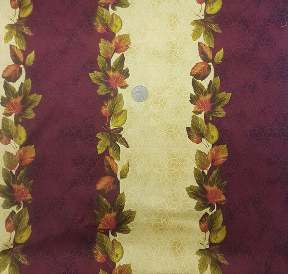 Leaf border print, burgundy and beige