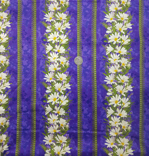 Purple daisy border stripe