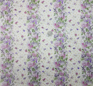 Pink purple floral border stripe on cream
