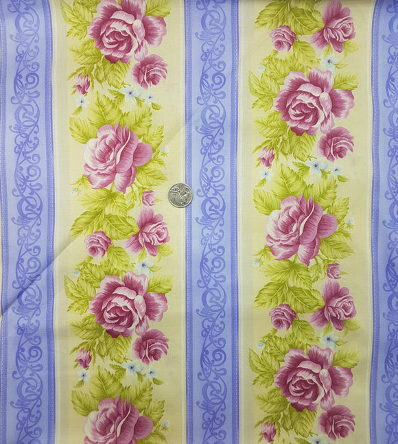 Pink rose, cream and purple border stripe