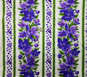 Catalina floral purple on white border stripe