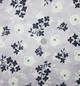 Black and white floral on lilac