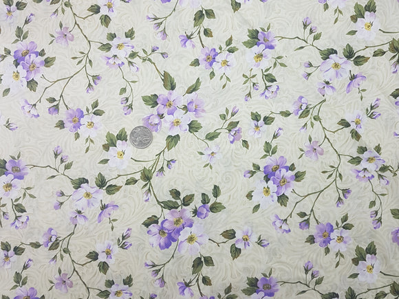 Floral, purple and white on beige swirl