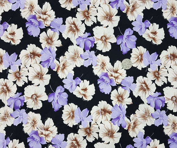 Purple and beige floral on black