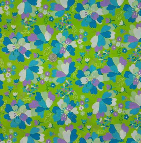Ella Blue, blue and purple floral on green