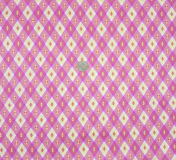 Ella Blue, check, pink, yellow on white