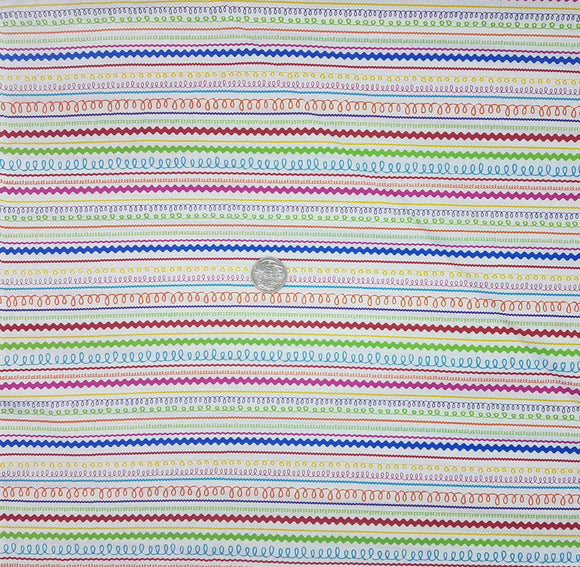 Stripe, multi colour bright, swirly