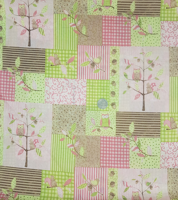 Owls, pink and green, check and stripe background
