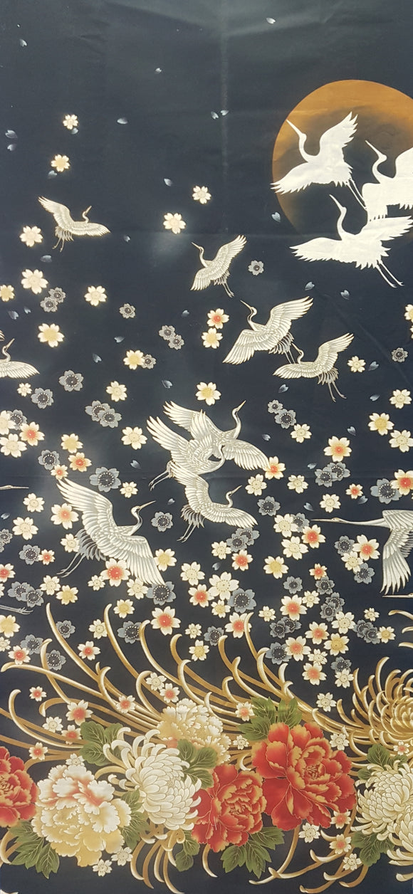 Asian floral and Egrets in moon