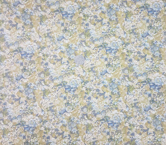 Blue, green and beige floral, metallic