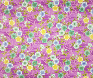 Yellow, blue and green floral on pink, metallic