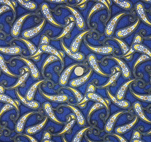 Paisley, gold and blue on blue