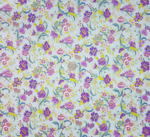 Grand Majolica, purple floral on aqua