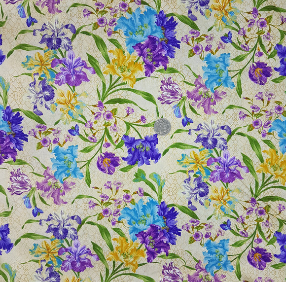 Garden Rendezvous, purple blue and yellow floral on beige