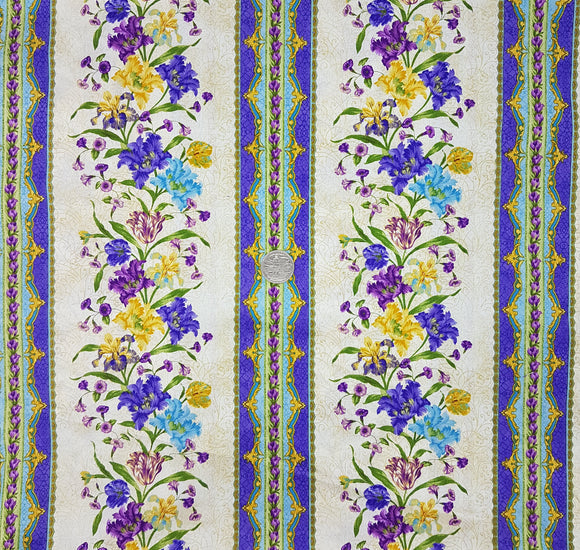Garden Rendezvous, purple, blue and yellow floral border stripe