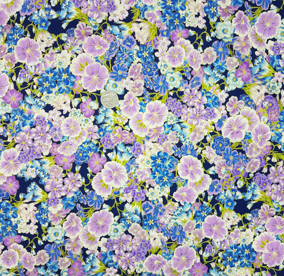 Grand Majolica, Purple and blue floral on navy, metallic