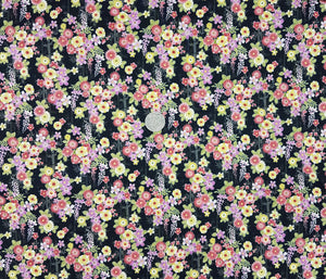 Pink, purple and yellow floral on black bamboo background