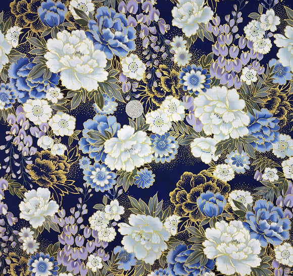 Blue, purple and grey floral on navy, metallic