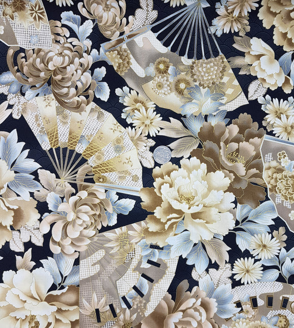 Floral fan, beige and grey on black