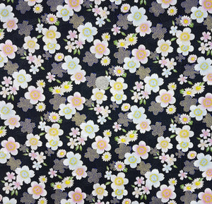 Sevenberry, white and navy floral on black, metallic