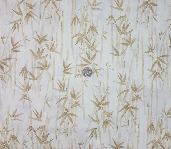 Bamboo, beige on cream, metallic