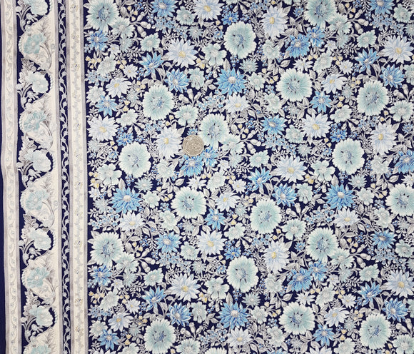 Tuscan Wildflower, blue floral on navy, border stripe