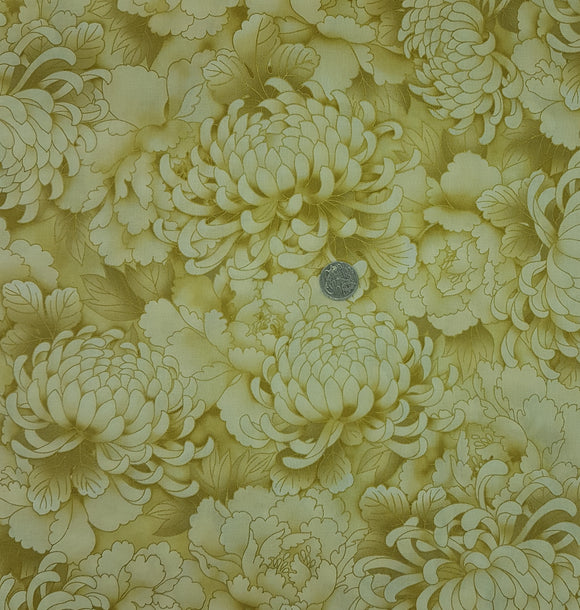 Cream and beige Chrysanthemum, metallic, large