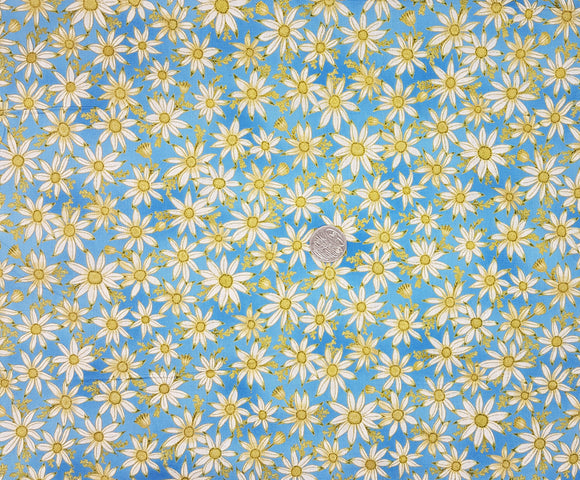 Under the Australian Sun, cream daisy on blue metallic