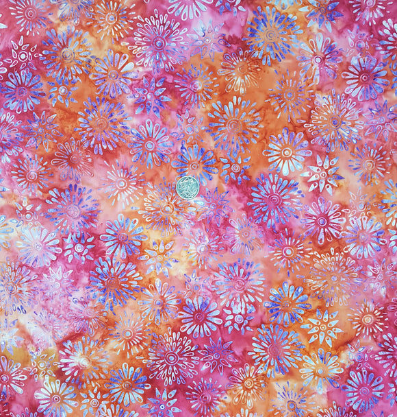 Batik, purple floral on red, pink and orange