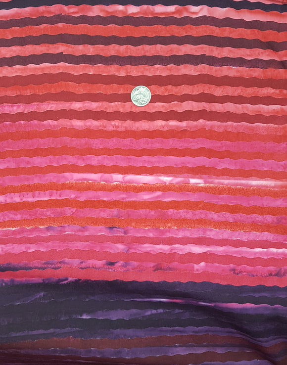 Batik, red, pink and purple wavy stripe