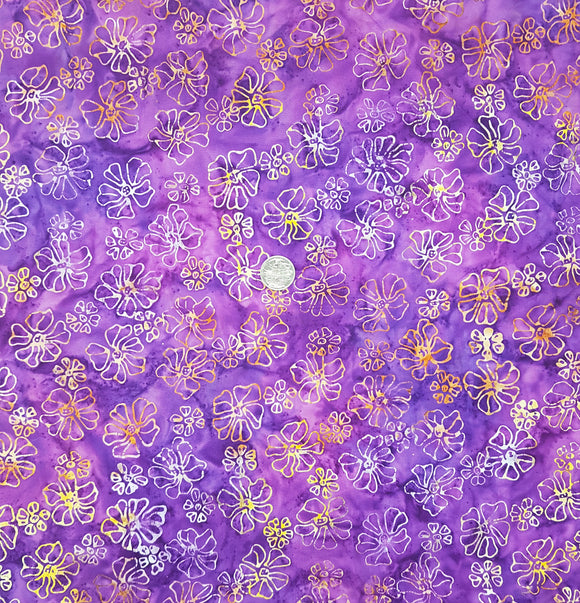 Batik, orange and yellow floral on purple