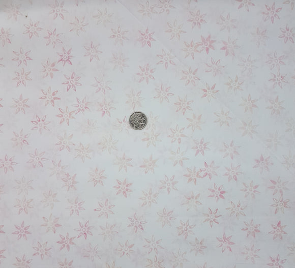 Batik, pale pink star flower on white